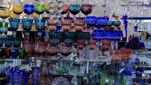 Bohemian glass and crystals in a souvenir shop in Prague, Czech Republic