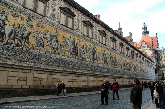 Furstenzug - world's biggest porcelain artwork in Dresden, Germany