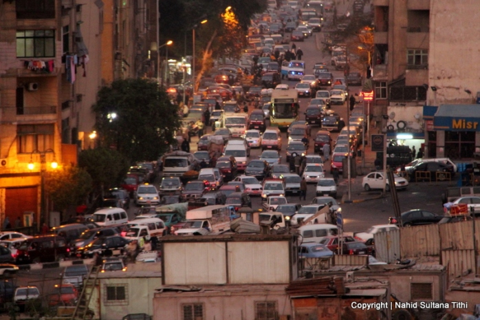 Streets and traffic jam of Cairo during rush hour, a view from Al-Azhar Park