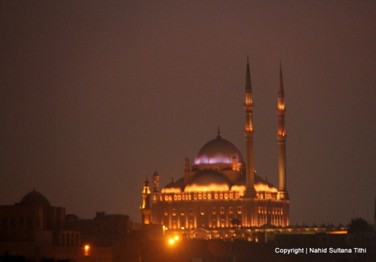 Grand view of Ali Pasha at night from Al-Azhar Park, Cairo, Egypt