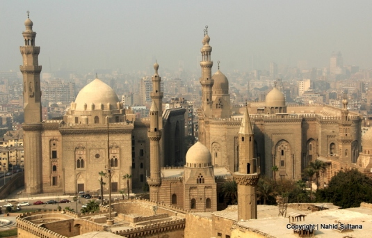 View of Rifaii Mosque, Sultan Hasan Mosque, and other parts of Islamic Cairo in Cairo, Egypt