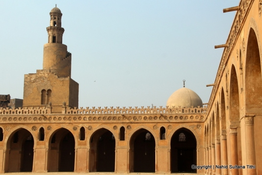 Ibn-Tulun Mosque in Cairo, Egypt - minaret of this mosque is said to be the oldest in Egypt