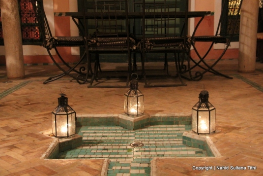 The courtyard of our Riad Dar Al-Ihssan in Marrakech