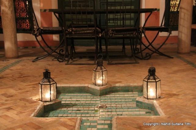 The courtyard of our Riad Dar Al-Ihssan in Marrakech