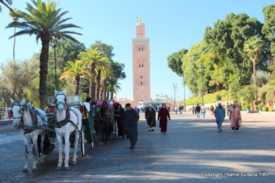 Walking towards Koutoubia Mosque from Djemma El-Fna, Marrakech