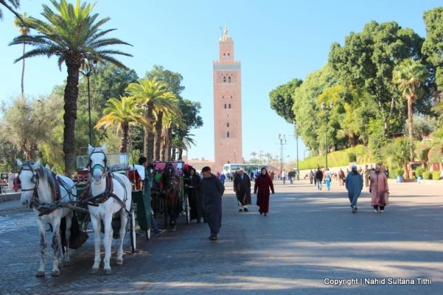 Walking towards Koutoubia Mosque from Djemma El-Fna, Marrakech