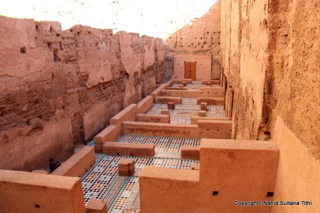 A nicely preserved room in El-Badi Palace in Marrakech, Morocco