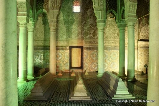 One of the rooms with few tombs in Saadian Tombs, Marrakech