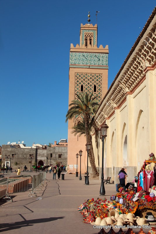 Walking around the city, outside the walls of Saadian Tombs in Marrakech