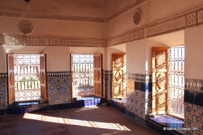One of the rooms of Ouarzazate Kasbah in Morocco, decorated with tiles