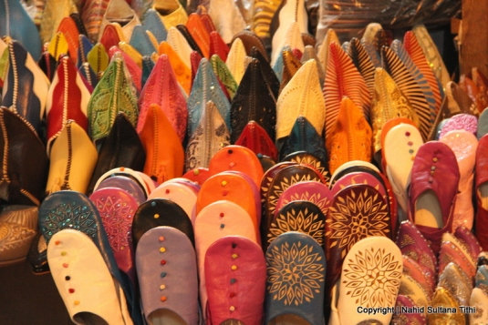 Moroccan babouche (slippers) in a souk of Marrakech