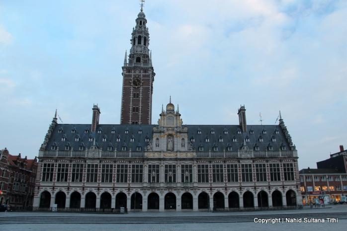 Historic university library in Ladeuzeplein, Leuven