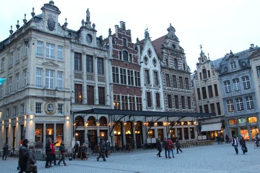 Typical Flemish-style buildings in Grote Markt of Leuven