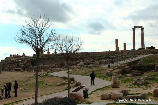 The Citadel - Temple of Hercules on the right in Amman, Jordan