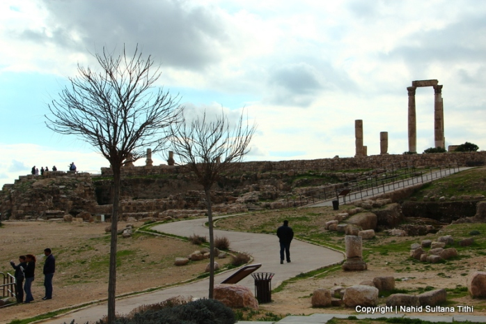 The Citadel - Temple of Hercules on the right in Amman, Jordan
