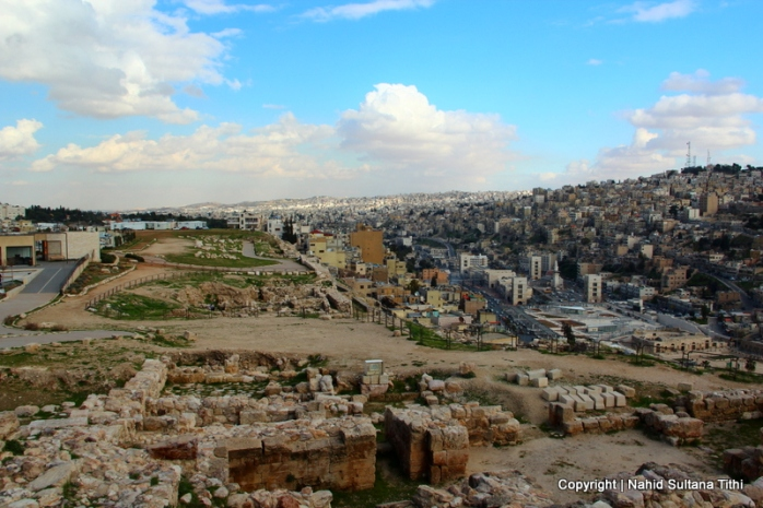 Ruins in Citadel and view of the city from the top in Amman, Jordan