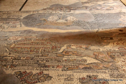 Map of Holy Land from the 6th century inside Greek Orthodox Church of St. George, Jordan