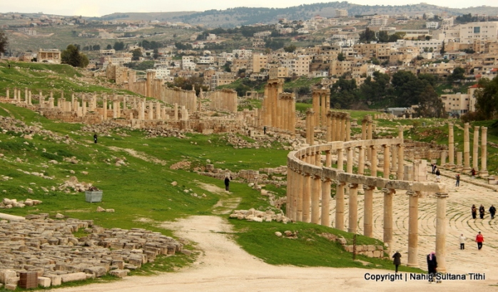 A Roman city from the 2nd century  in Jerash, Jordan