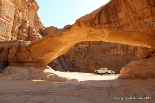 One of many natural bridges in the desert of Wadi Rum, Jordan