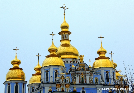 Golden domes and stipples of St. Michael Church in Kiev, Ukraine
