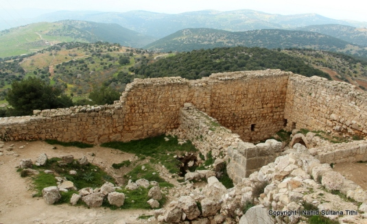 From the terrace of Ajloun Castle, looking over some ruins and the city