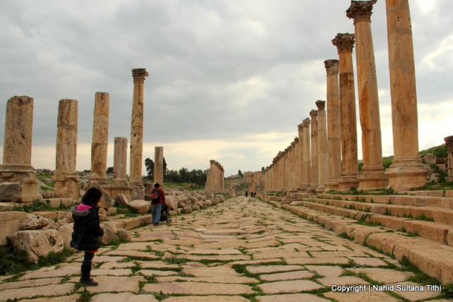 The Colonnaded or the main street of Roman city in Jarash, Jordan...decorated with many columns