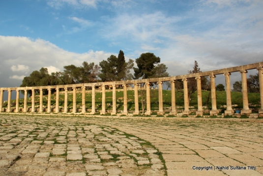 The column fence of Oval Plaza in Roman city, Jarash