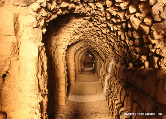 One of the dark tunnels of Karak Castle in Jordan