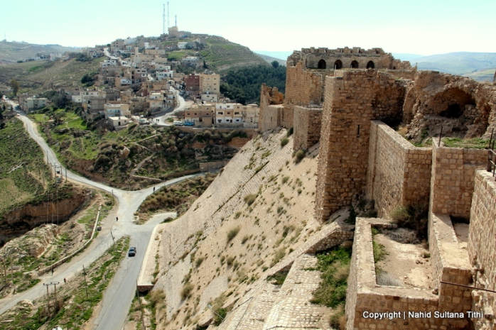 The outer defense wall of Karak Castle in Jordan