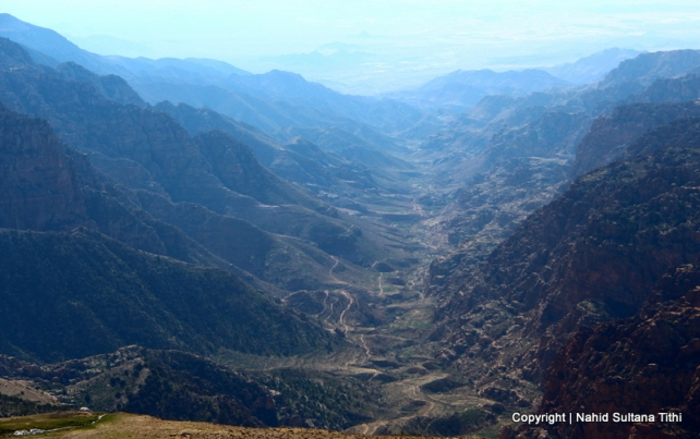 View from Dana and its adjacent valley in Jordan