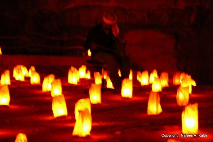 Petra by Night - man telling history of Petra