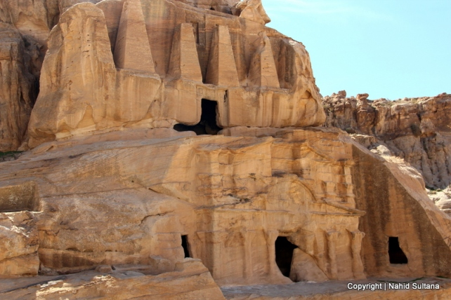 "A rock-cut funerary complex ""Obelisk Tower"" before entering Siq in Petra, Jordan"
