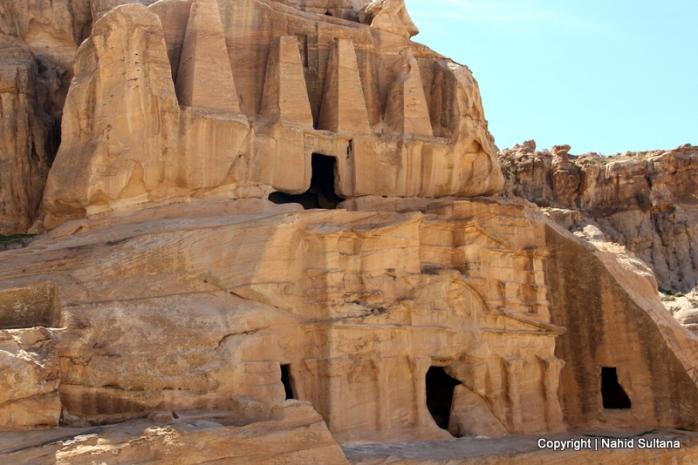 """A rock-cut funerary complex """"Obelisk Tower"""" before entering Siq in Petra, Jordan"""