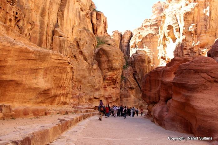 Amazing colors and rock formations of Siq in Petra, Jordan
