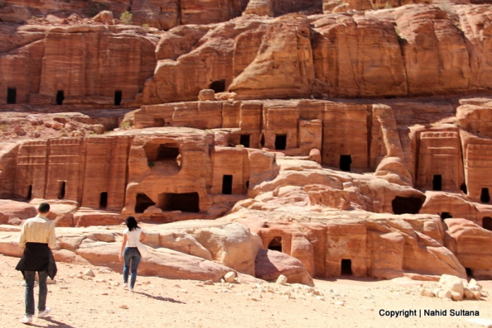 Hundreds of caves and tombs of Nabataean Kingdom in Petra, Jordan