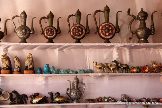 A souvenir shop on the mountains selling local trinkets in Petra, Jordan