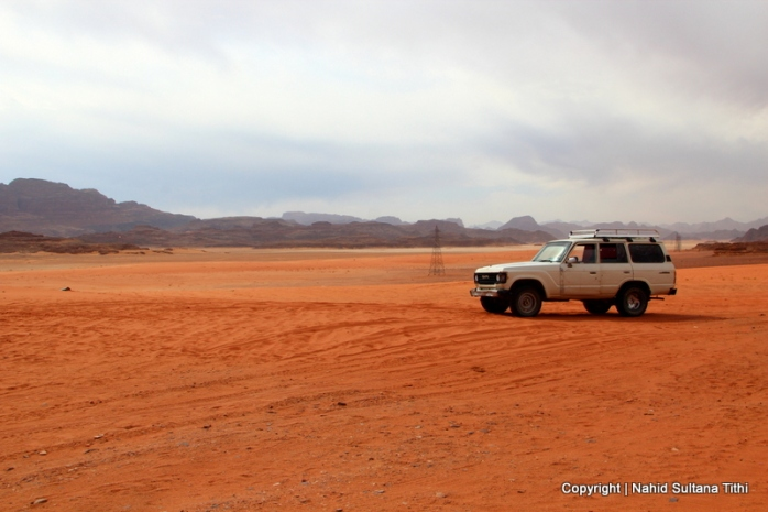 Our 4x4 transportation in the desert of Wadi Rum, Jordan