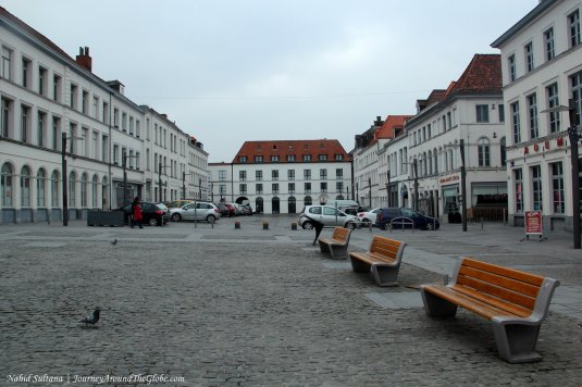 An empty square in Tournai, Belgium
