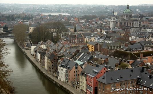 View of Namur from the citadel in Belgium