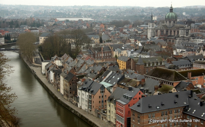 View of Namur from the citadel in Belgium