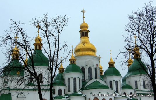 Domes of St. Sophia's Cathedral in Kiev, Ukraine