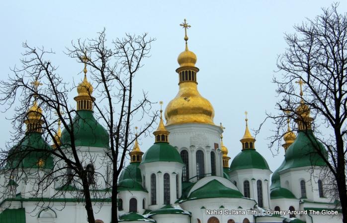 Domes of St. Sophia's Cathedral in Kiev, Ukraine