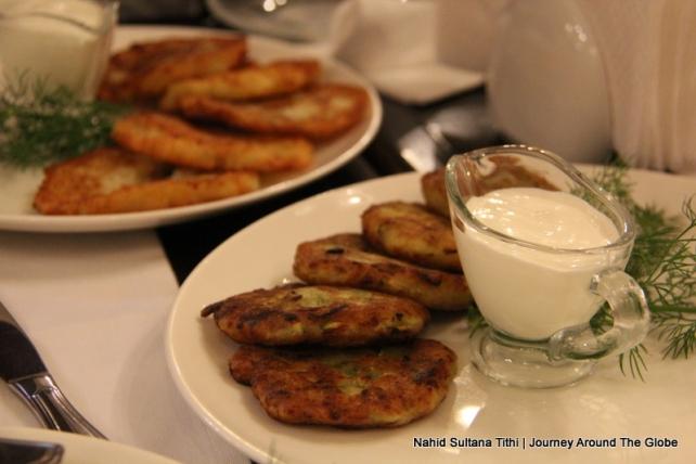 Ukrainian zucchini pancakes in Kiev