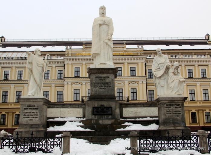 Statue of Princess Olga in front of St. Michael's Monastery in Kiev, Ukraine
