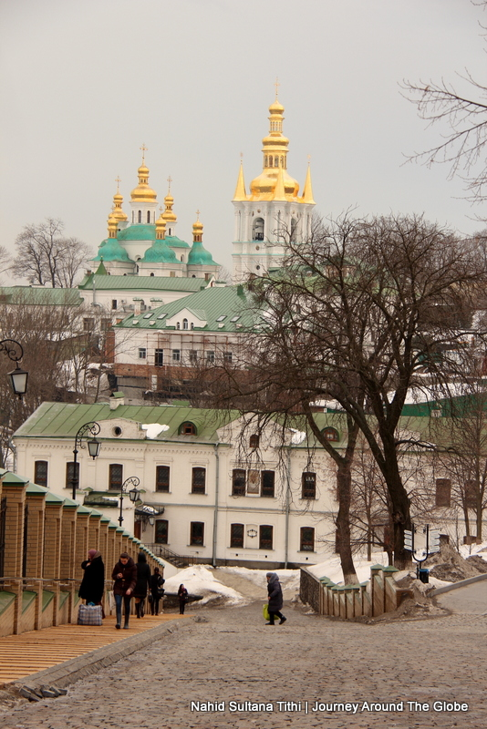 Walking around Lavra Monastery in Kiev, Ukraine