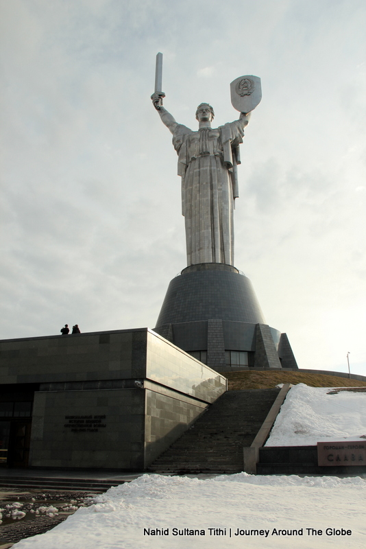 Motherland Statue on top of Great Patriotic War Museum in Kiev, Ukraine