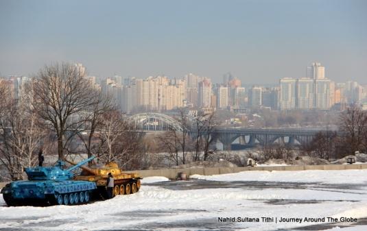Kiev skyscraper as seen from Motherland Statue