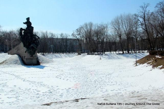 A monument in Babyn Yar to commemorate 60,000 innocent victims death in the hands of German Nazi during WWII in Kiev, Ukraine