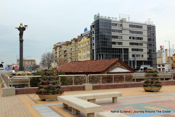 City center of Sofia, Bulgaria...Statue of St. Sofia on the left