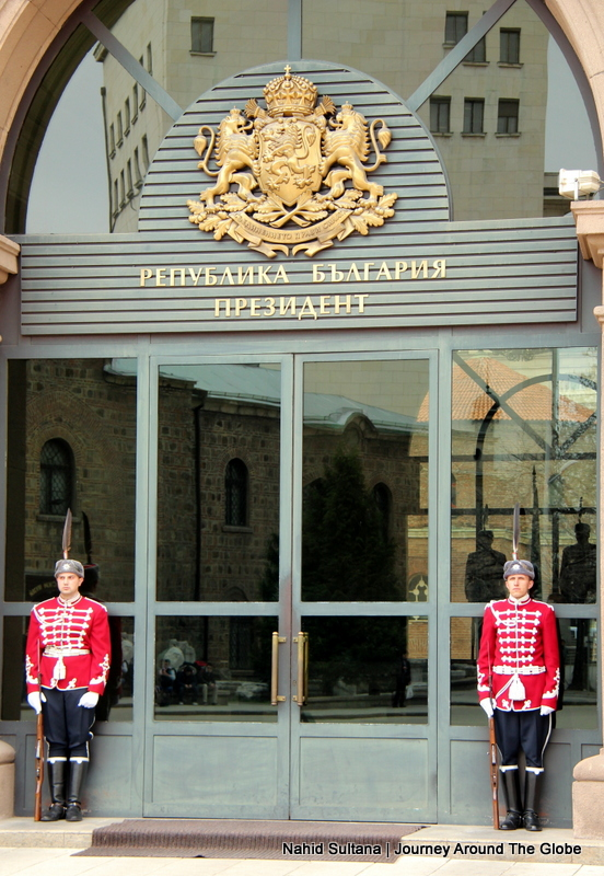 Guards standing in front of a gov't office in Sofia, Bulgaria